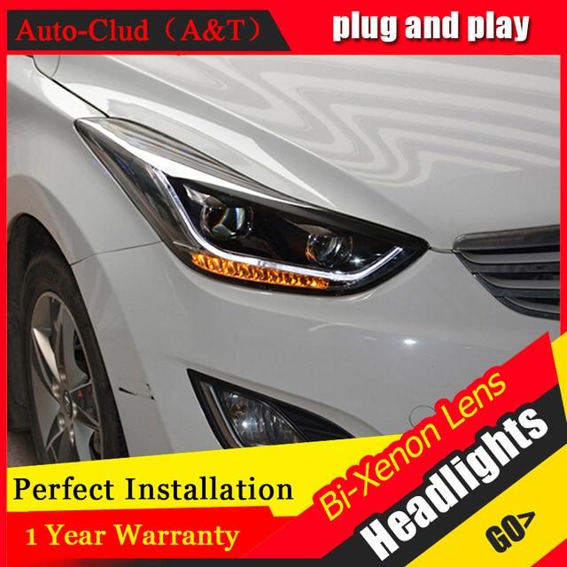 Car Styling For Hyundai Elantra Headlights 2011-2014 Elantra MD LED Headlight led drl H7 hid Bi-Xenon Double Lens low beam