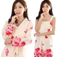 2018 Autumn Women 2PC Robe Sets Thick Warm Flannel Robe Female Sleepwear Coral Velvet Bathrobe Suit Winter Dressing Gown