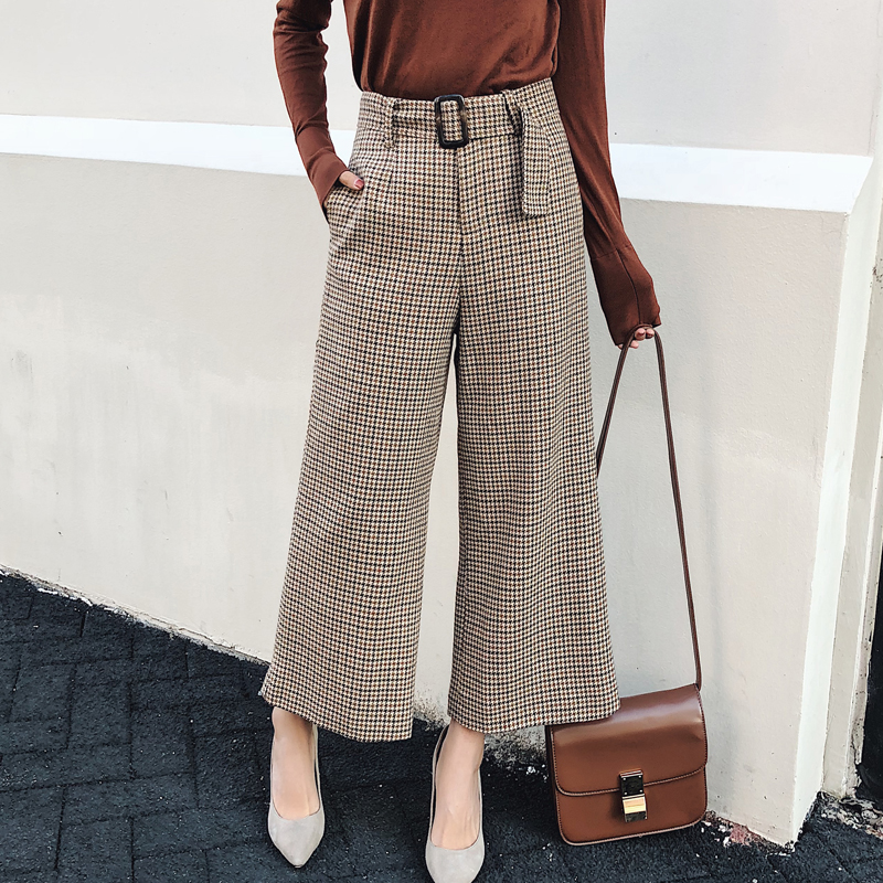 2017 autumn casual loose womens clothing plaid   pants   women drawstring high waist   pants   wool   wide     leg     pants
