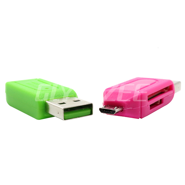 SR 2 in 1 USB OTG Card Reader Universal Micro USB OTG TF/SD Card Reader Phone Extension Headers Micro USB OTG Adapter