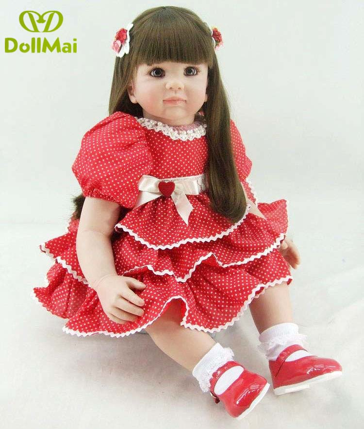 2018 Boutique 55cm Silicone Reborn Baby Doll Toys With Nice skirt Princess Dolls Lovely Birthday Gift Girls Brinquedos dollmai2018 Boutique 55cm Silicone Reborn Baby Doll Toys With Nice skirt Princess Dolls Lovely Birthday Gift Girls Brinquedos dollmai