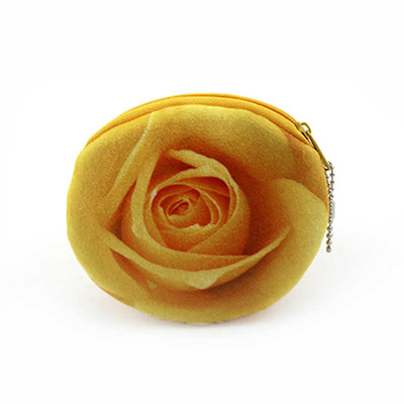 6 Estilos 3D Rose Flor Mulheres Crianças Meninas Algodão Coin Bolsas titulares Zipper Caso Saco de Dinheiro Bolsa Crianças Pequenas Carteiras Moeda Bancária