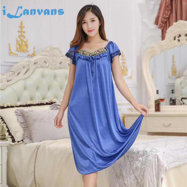 89412734639 Womens Mid-Calf Nightgowns Sexy Spaghetti Nightdress Sleep Dress Summer  Dress