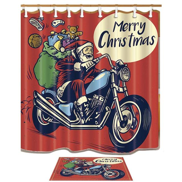 Vintage Xmas Shower Curtains Santa Claus On Motorcycle With Gift Box Curtain Set Anti Slip Floor Doormat