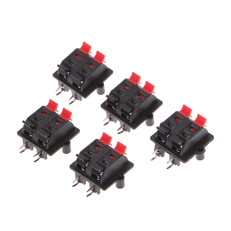 5Pcs Double Row 4 Position Cable Clip Push Type Speaker Terminal Panel Connector