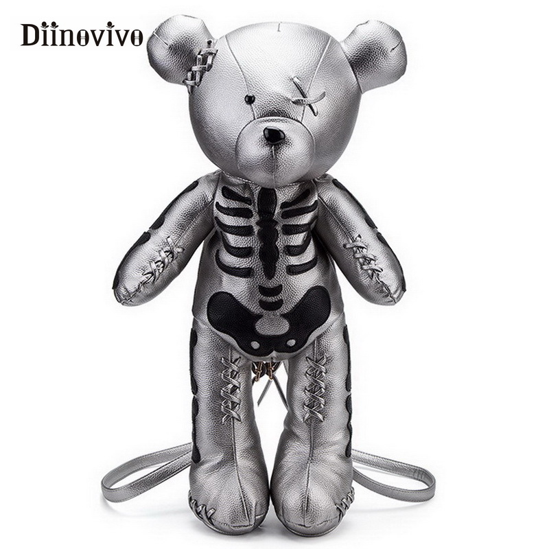 DIINOVIVO Fashion Skeleton Bear Female Backpack Punk Style School Bags Designer Backpacks for Adolescent Girls Gifts WHDV0324