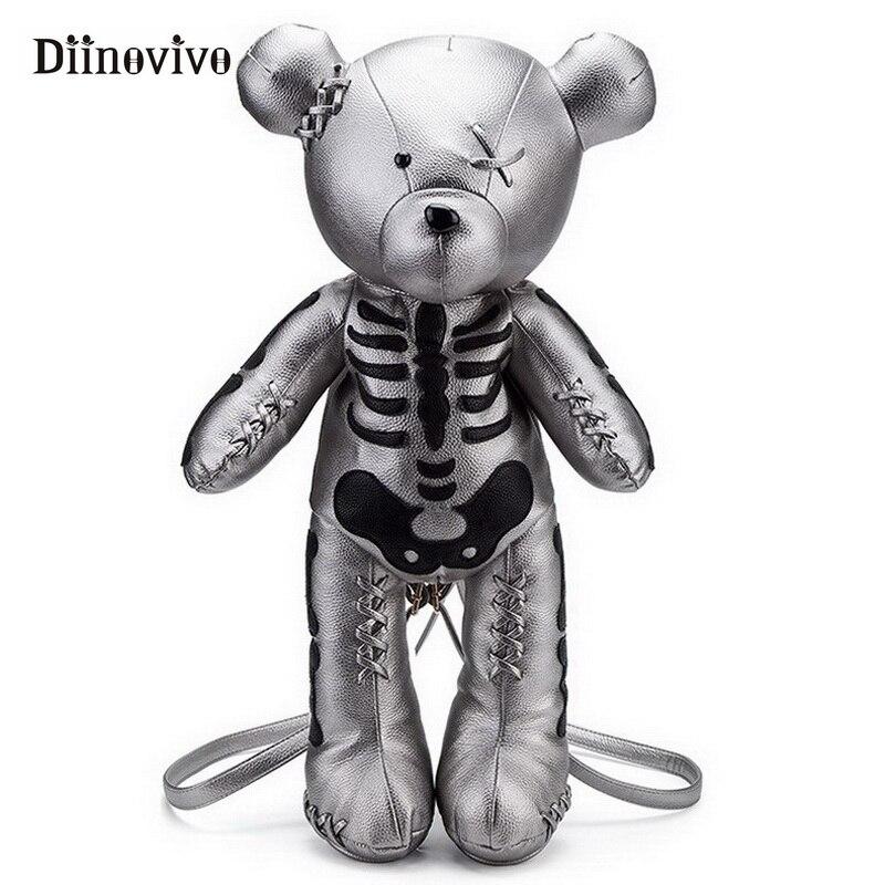 DIINOVIVO Mode Skeleton Bär Weibliche Rucksack Punk Stil Schule Taschen Designer Rucksäcke für Jugendlichen Mädchen Geschenke WHDV0324