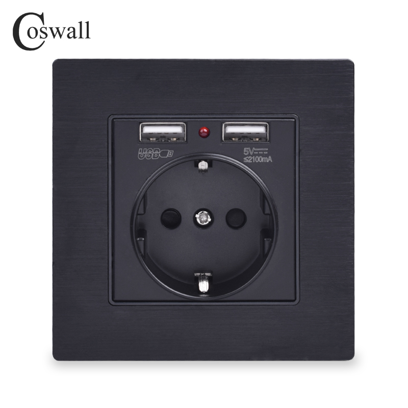 Coswall Black Aluminum Metal Panel Dual USB Charging Port 2.1A 16A Russia Spain Wall Socket EU Power Outlet R12 Series