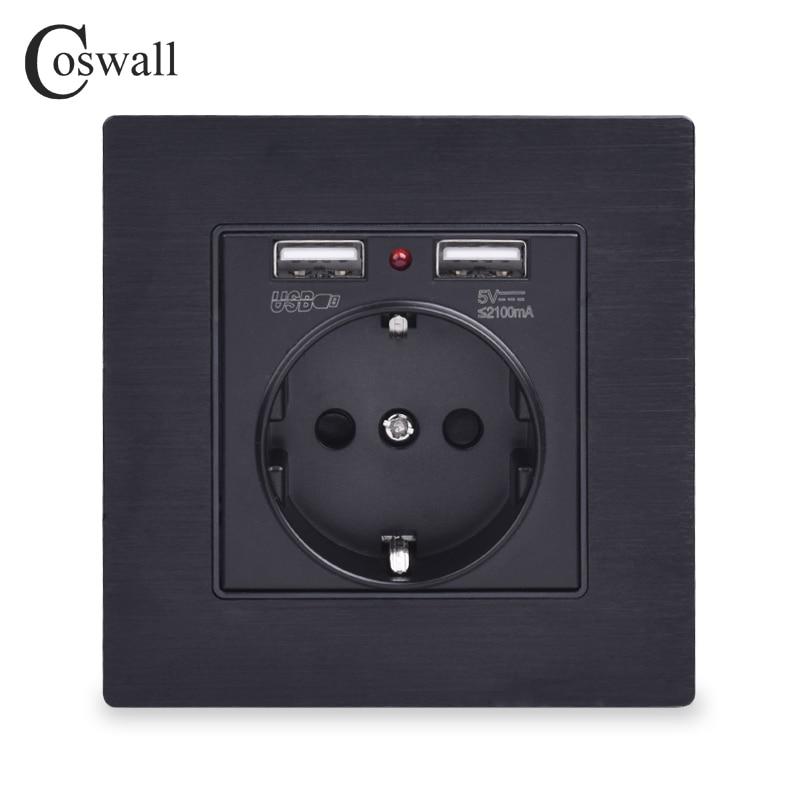 Coswall Black Aluminum Metal Panel Dual USB Charging Port 2.1A 16A Russia Spain Wall Socket EU Power Outlet R12 Series