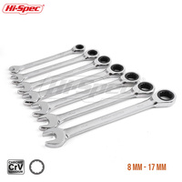 Hi Spec 7pc Reversible Combination Wrench Ratchet 8 10 12 13 15 17 19mm Socket Combination Spanner Wrench Set A Set of Keys