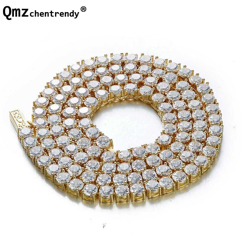 Top qualité Hip Hop Bling CZ glacé 1 rangée pharaon lien chaîne collier femmes hommes cuivre Tennis chaîne bijoux livraison directe