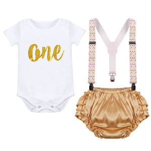 Image 2 - Cake Smash Outfit Baby Newborn Birthday Party Clothes Baby Boy & Girl Clothes for Photography Cute Baby Suspenders Shorts Outfit