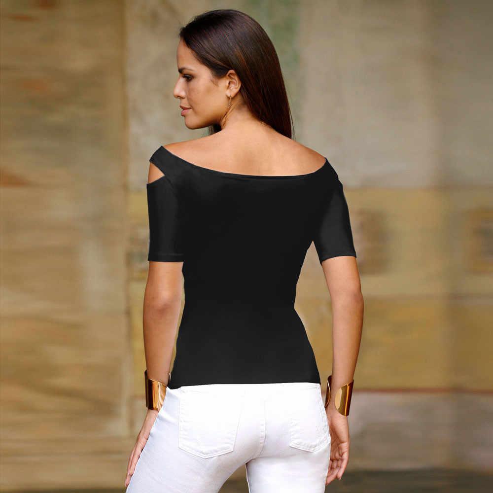 Летние топы для женщин топы и блузки 2018 с открытыми плечами рубашки Туника выдалбливают Дамы топ модная одежда уличная