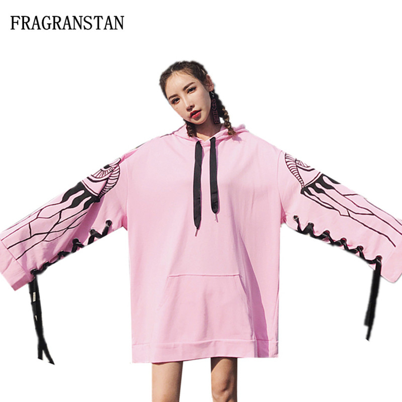 Female Fashion Spring Autumn New Pattern Printed Long Sleeve Bandage Hoodies Women Casual Cotton Street Style