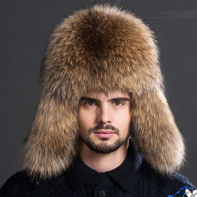 036e69ddf3d50 Men Warm Fox Fur Hat Package Winter Warm Thick Fur Hat Men Outdoor Leather  Crown Raccoon Middle-aged Leifeng Bomber Hats H 22