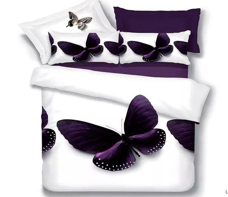 Queen size bed sheet sets bedding set white purple butterfly quilt duvet cove bedspreads full double bedroom linen bedsheet 4pcs