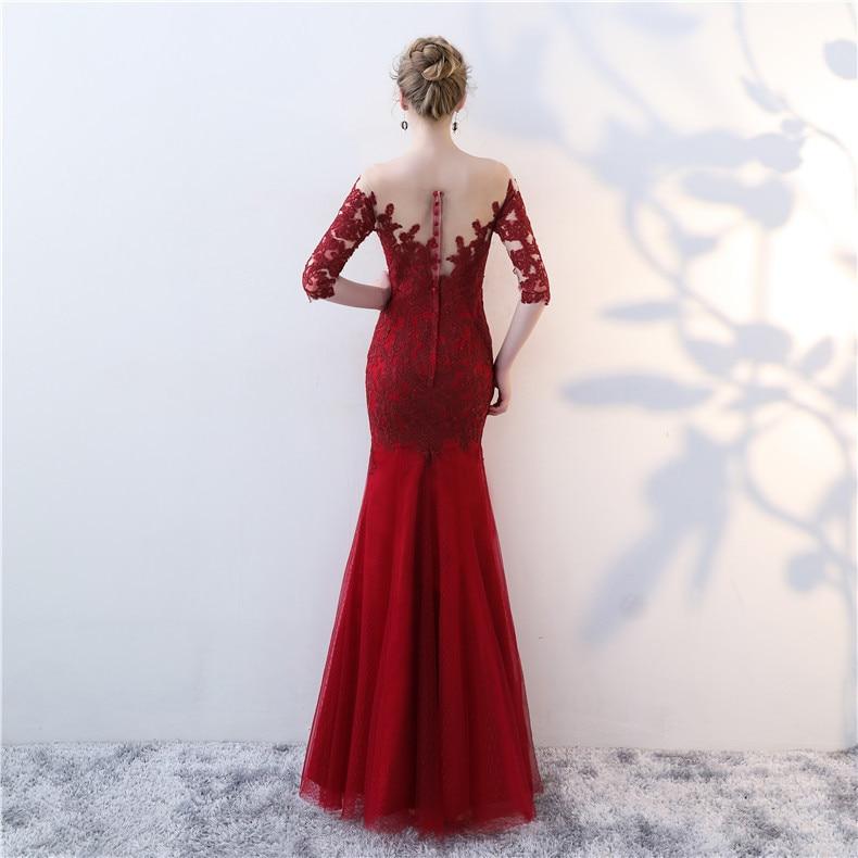 Burgundy Elegant Formal Party Dress 2019 Mermaid Abendkleider Applique Long Lace Pageant Dress Avondjurk Vestidos Robe De Soir in Dresses from Women 39 s Clothing