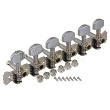 Yibuy Zinc Alloy 6 in Line 12 String Guitar Tunning Pegs 6L6R Square Head Silver