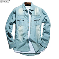 Newsosoo brand New Arrival Men Jeans Shirt Thin Camisa Jeans Fashion Casual Jeans for Men Do the old retro Denim Shirts CY47
