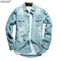 Newsosoo marca new arrival homens jeans camisa fina camisa de jeans da moda Jeans Casual para Homens Fazer o velho retro Denim Camisas CY47