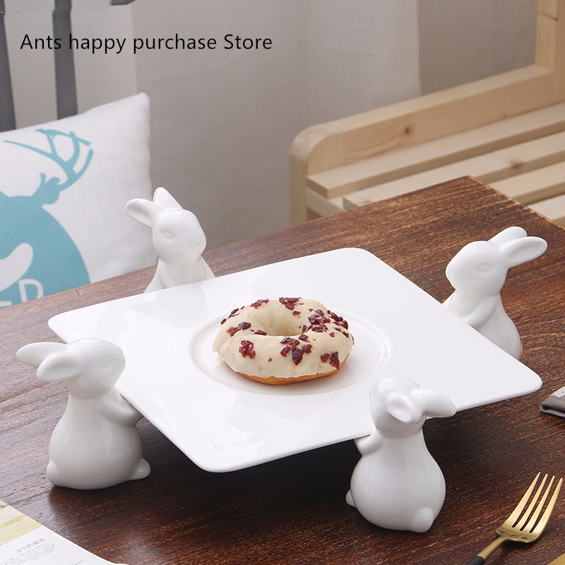 Ceramic Cake Frame Creative European Living Room Rabbit Fruit Plate Pastry Tray Dessert Table Candy Stand