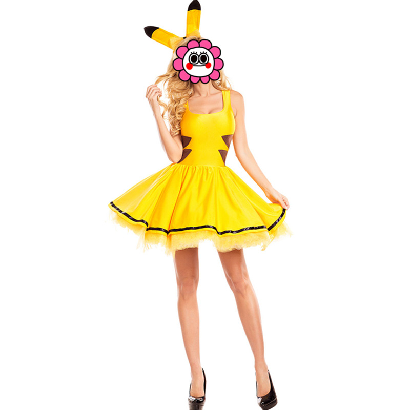 Fashion Pikachu Costumes Women Cosplay Adult Animal Carnival Sexy Dress Gold Clubwear Party Wear Christmas halloween Costume