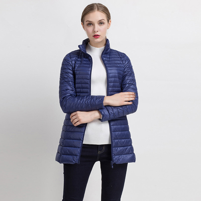 90% белый утиный пух пальто ультра светильник тонкий длинный пуховик портативное Женское зимнее пальто размера плюс Chaquetas Mujer - Цвет: Navy blue