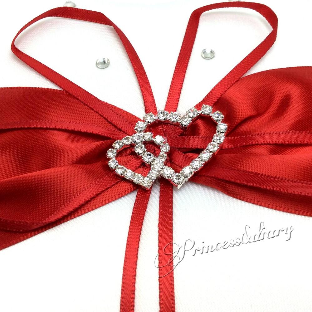 4 pièces/ensemble décoration de mariage rouge nuptiale Satin anneau oreiller + panier de fleurs + livre d'or + ensemble de stylo produits de mariage fournitures - 5