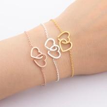 "Friendship Bracelets Gold Silver Double-Heart ""Together Forever"" Bangle Bracelet Weeding Gift Women Girl Sexy Beach Boho Jewelry"