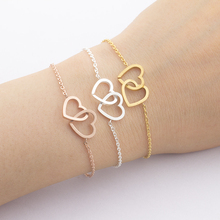 "Friendship Bracelets Silver Double-Heart ""Together Forever"" Bangle Bracelet Love Weeding Gift Women Girl Sexy Beach Boho Jewelry"