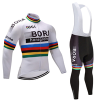 2017 Champion White BORA Cycling Jersey Pants Set Ropa Ciclismo Winter Thermal Fleece Windproof Cycling Wear