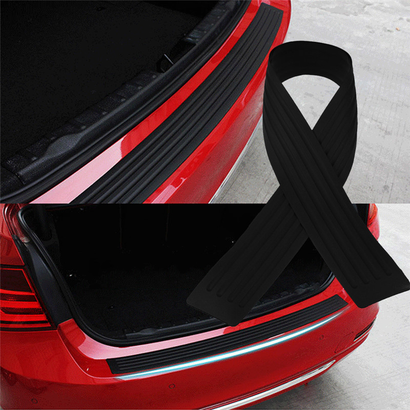 90CM Rear Bumper Guard Protector Trim Cover Sill Plate Trunk Rubber Pad Kit Red