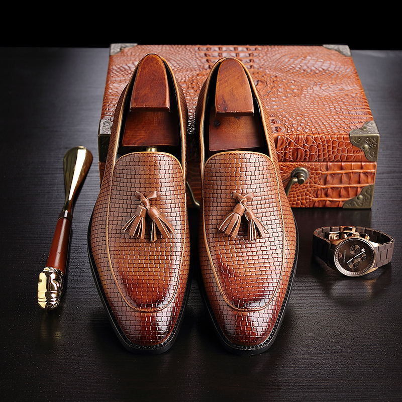 Sur Robe Mocassins Chaussures Bureau Rouge Slip De Pria Hommes Cuir Noir Classique En jaune Pour Sepatu vin Pompons Luxe Élégant À vqSCgxn6wv