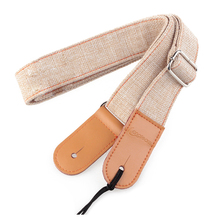 Longteam strap  75cm-130cm  width of 3.9cm cotton and linen + leather uukiri shoulder strap with a tail nail cream color