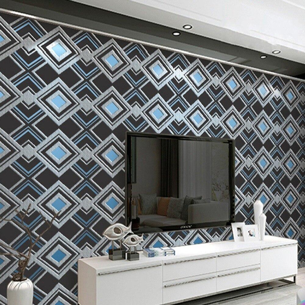 Beibehang moderne minimaliste diamant carré deerskin papier peint 3D épais en relief géométrique graphique fond Papel de parede