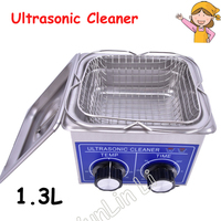 1.3L Small Ultrasonic Cleaner Heater & Timer 60W 40KHZ for Household Glasses Jewelry With Basket PS 08