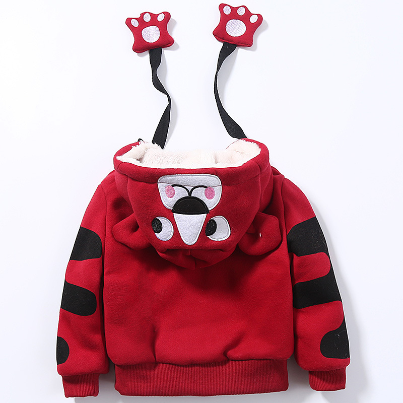 Cute Boys Girls Cartoon Tigers Clothing Suits Baby Plus Velvet Hoodies Pants 2Pcs Sets Kids Toddler Winter Sports Clothes 1-5Yrs