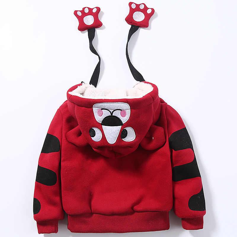 Śliczne chłopcy dziewczęta Cartoon tygrysy odzież garnitury dziecko Plus aksamitne spodnie bluza z kapturem 2 sztuk zestawy dzieci maluch zimowe ubrania sportowe 1-5Yrs