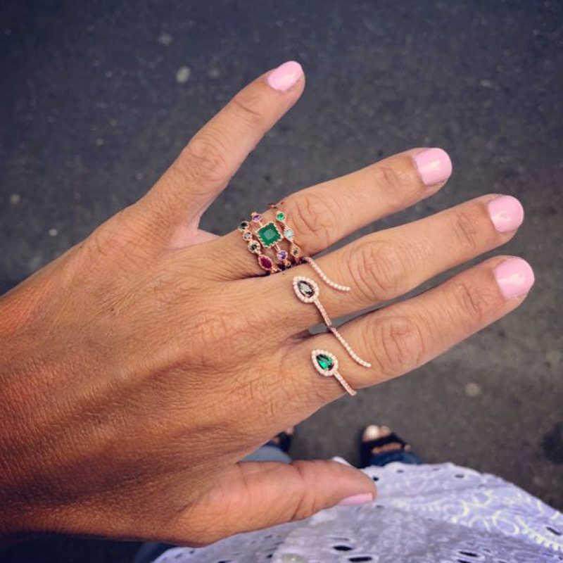 Yeşil mor mavi kırmızı beyaz siyah sarı zirkon kristal yılan yüzükler kadınlar için gül altın gümüş renk AAA CZ sevimli kurbağa yüzük