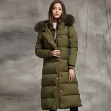 2018 Winter Women White Goose Down Jacket Luxury Long Style