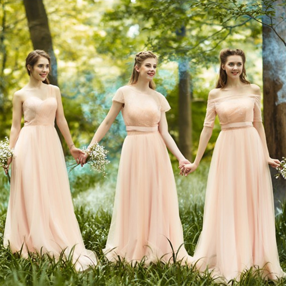 Online get cheap romantic bridesmaids dresses aliexpress romantic long blush bridesmaid dresses with sleeves pleat tulle lace cute bridesmaid dress boat neck empire ombrellifo Images