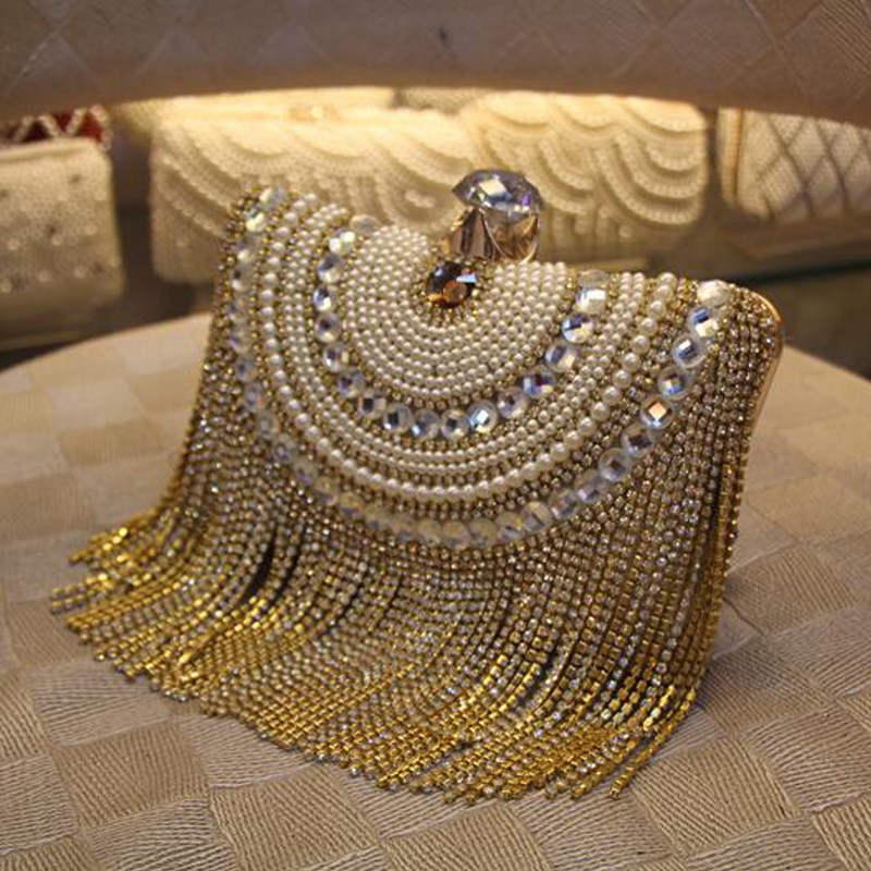 New Women Diamond Wedding Bride Shoulder Crossbody Bags Gold Clutch Beaded Tassel Evening Party Purse Banquet Handbags Li29 In Top Handle From