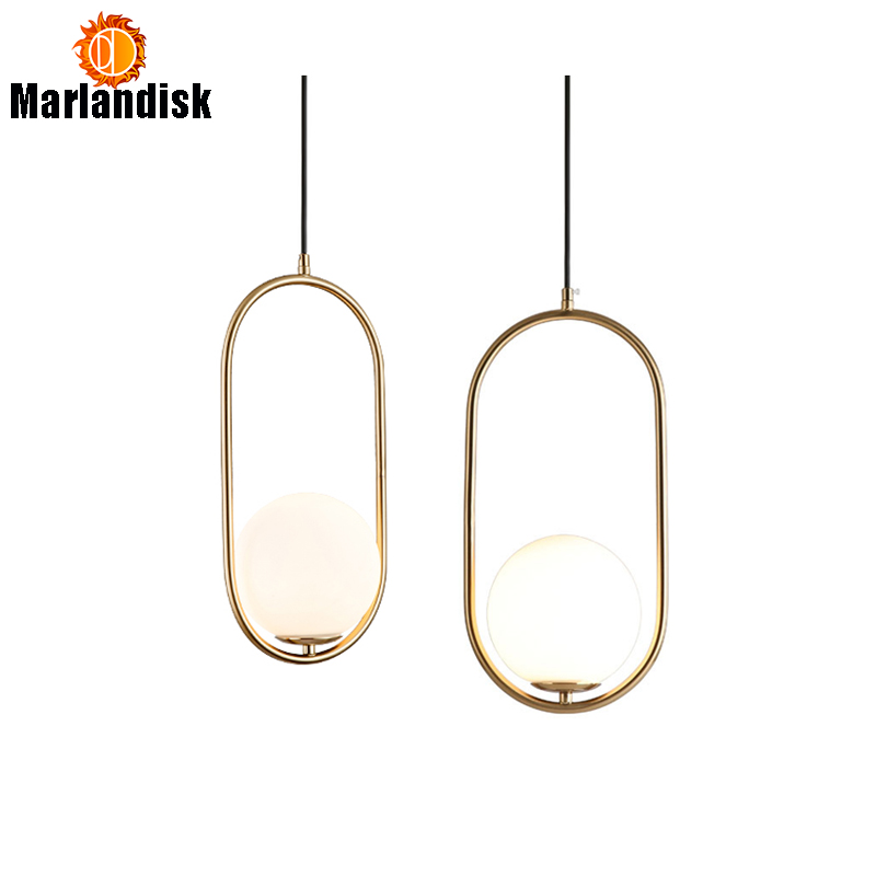 Post-Modern Style Gold Metal  Ring Pendant Light With Round Milky Glass Ball Restaurant Kitchen Fixtures Indoor LED Pendant LampPost-Modern Style Gold Metal  Ring Pendant Light With Round Milky Glass Ball Restaurant Kitchen Fixtures Indoor LED Pendant Lamp