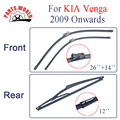 Group Silicone Rubber Front And Rear Wiper Blades For KIA Venga,2009 Onwards Windscreen Wipers Car Accessories CPC109 26''+14''