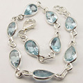 "Silver DROP CUT BLUE Topas HANDCRAFTED Bracelet 8 3/8"" ONLINE BUY"