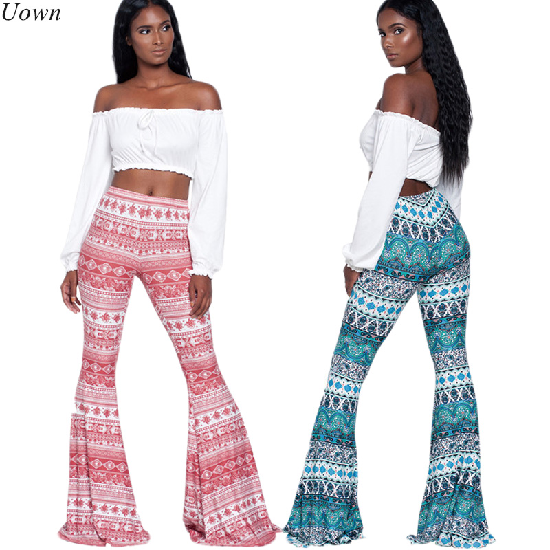 2017 Ladies Boho Trousers Fitness Clothing Women's Long Pants Casual Pattern Print Wide leg Bell Bottom Legging Soft Flare Pants