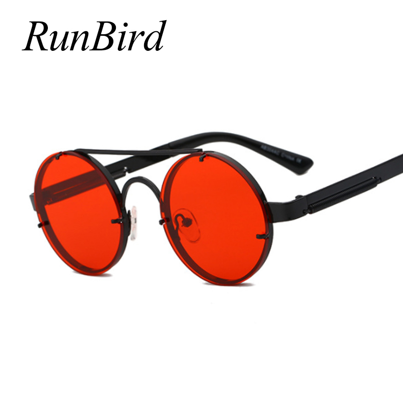 RunBird Retro SteamPunk Sunglasses Men Brand Designer Red Round Sun Glasses For Women Vintage Metal Sunglass UV400 Shades 1156R