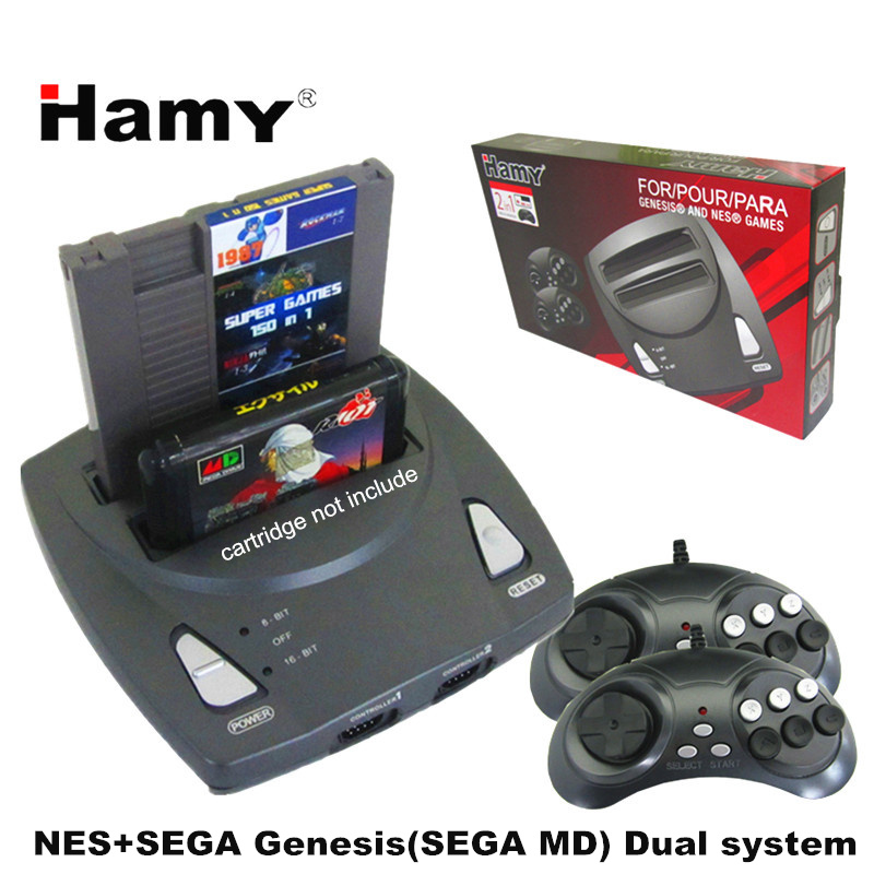 HAMY NES+SEGA Genesis/MD 2in1 system Game console ( two controllers)game cartridge rom Support  original game card high quality pioneer sph c10bt