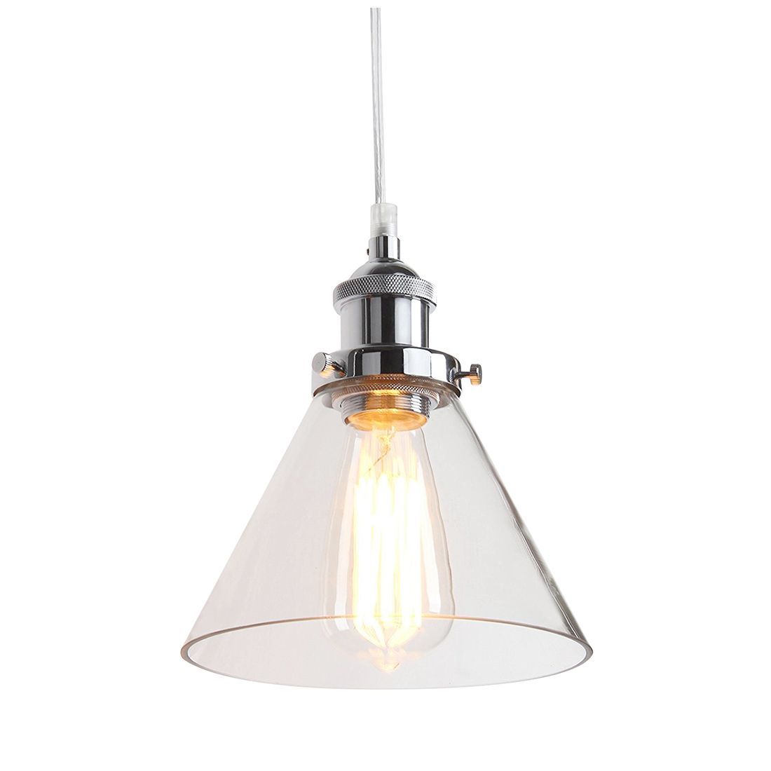Industrial Vintage Stainless steel head 1 Light Iron Body Glass Shade Loft Coffee Bar Kitchen Hanging Pendant Lamp vintage iron stainless steel pendant lamp modern silver stainless steel pendant light free shipping