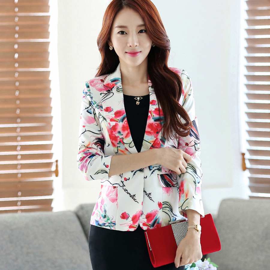Casual Flower Print Blazer Women Plus Size Printed Korean Blazer Femme Elegant Jaqueta Feminina Winter Jacket Women P4C0987